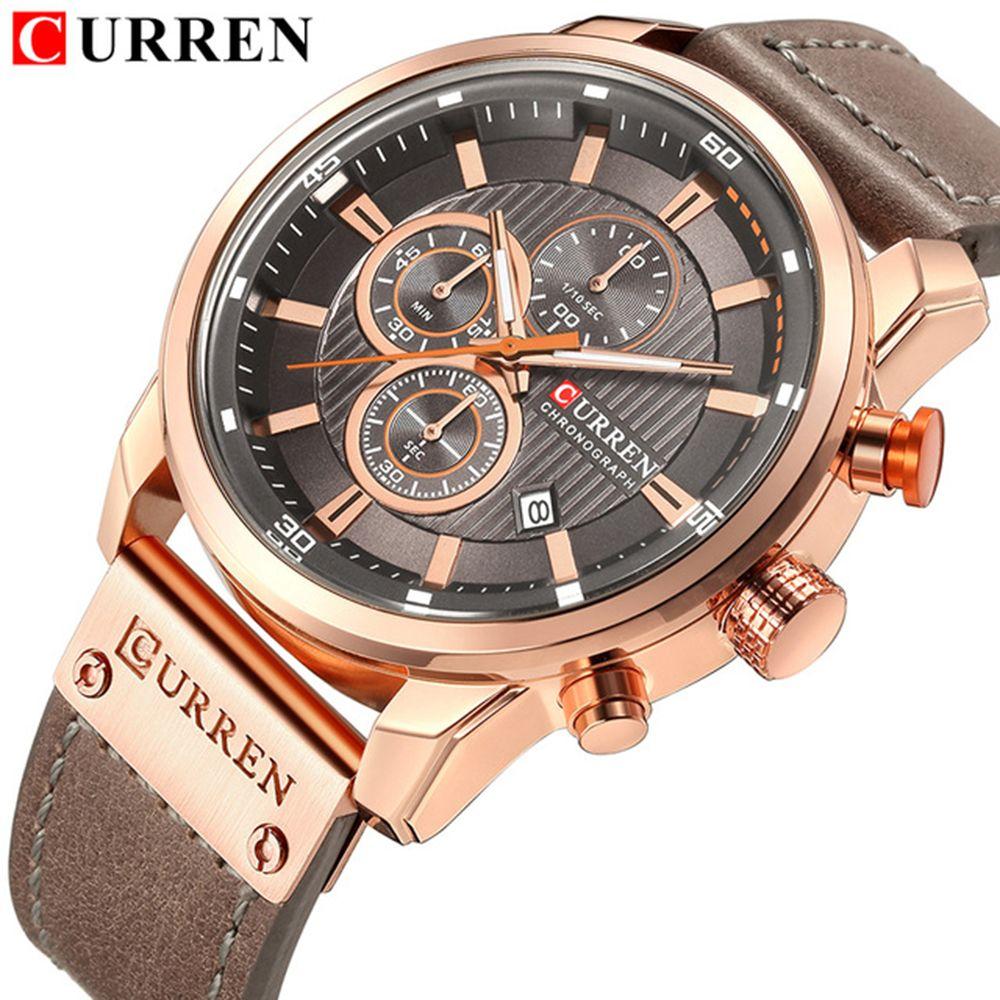 CURREN Luxury Brand Men Analog Digital Leather Sports Watches Men's Army Military Watch Man Quartz Clock Relogio Masculino Gold