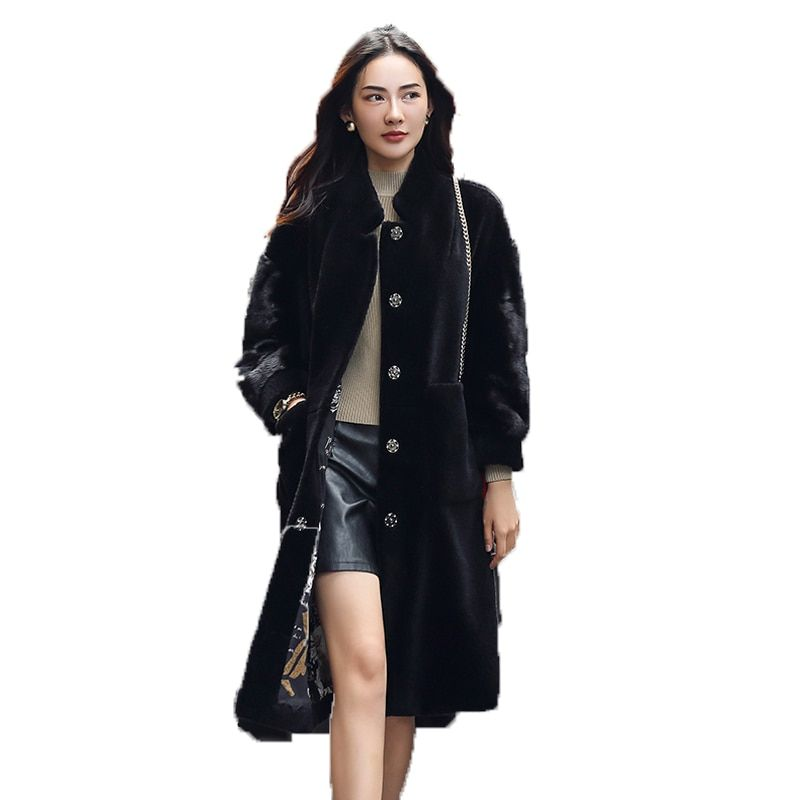 Winter Coat Women 2018 Real Fur Coat Mink Fur Coats Wool Jacket Korean Black Long Tops Sheep Shearing Fur Coat Plus Size ZT251
