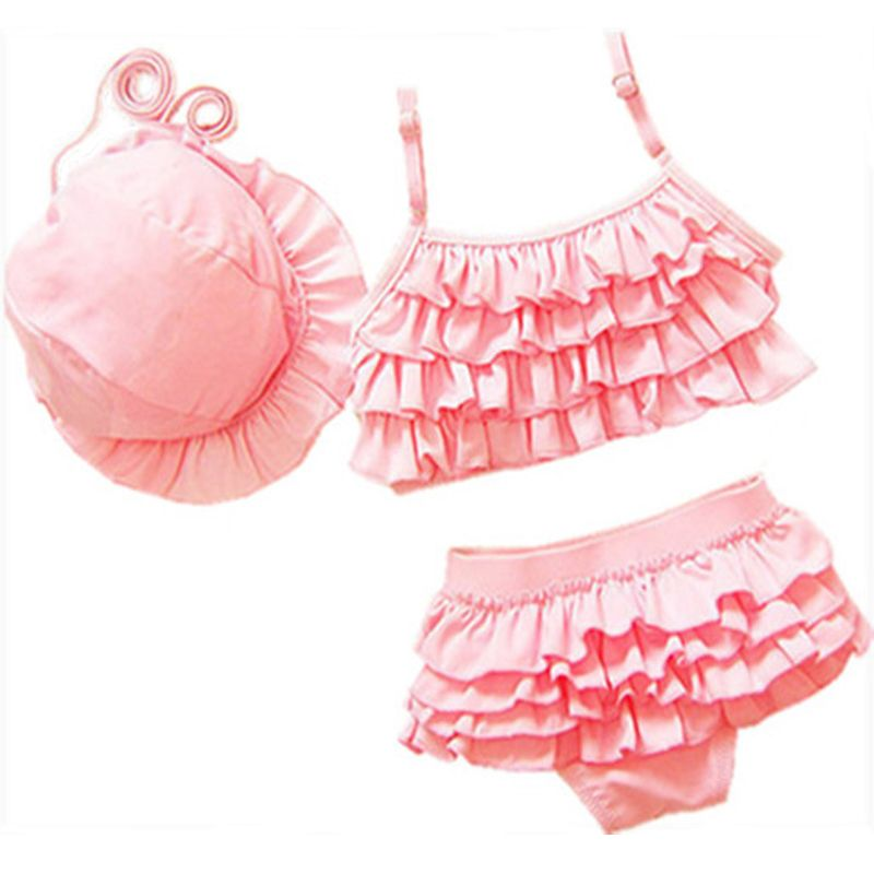 GI FOREVER Plus Size 2017 Children's Swimwear Kid Two Piece Suits With Hat Girl Cute Bikini Swimsuit Bathing Suit Maillot De Bai