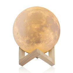 10 cm 15 cm recargable 3D impresión lámpara Luna 2 cambio de color Interruptor táctil dormitorio estantería luz de la noche Decoración regalo creativo