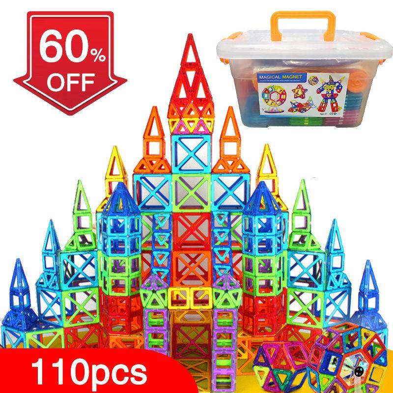 New 110pcs Mini Magnetic Designer Construction Set Model & Building Toy Plastic Magnetic Blocks Educational Toys For Kids Gift