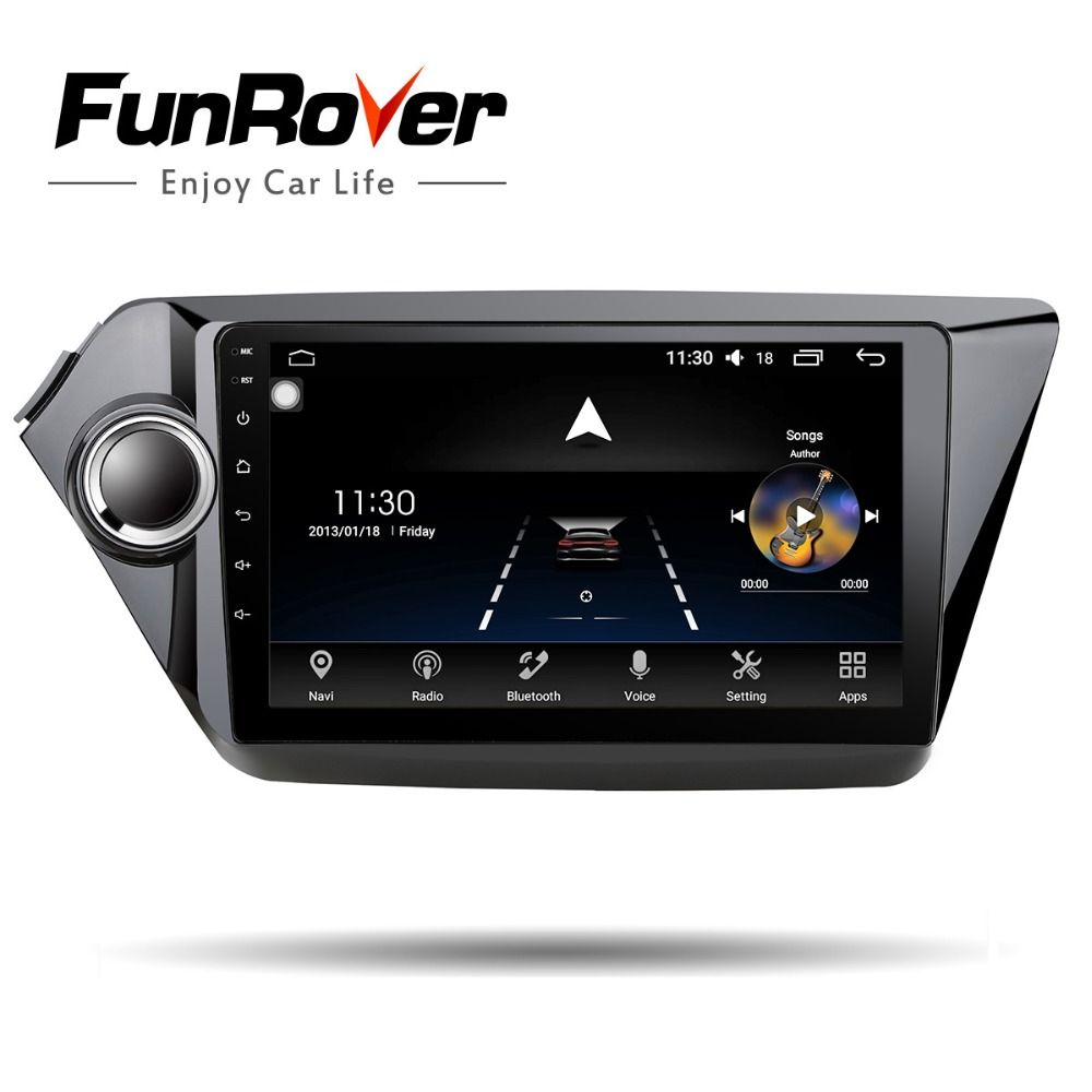 Funrover Car Multimedia player Android 8.0 GPS Octa Core for kia rio k2 2012 2013 2015 2016 car radio tape recorder map no dvd