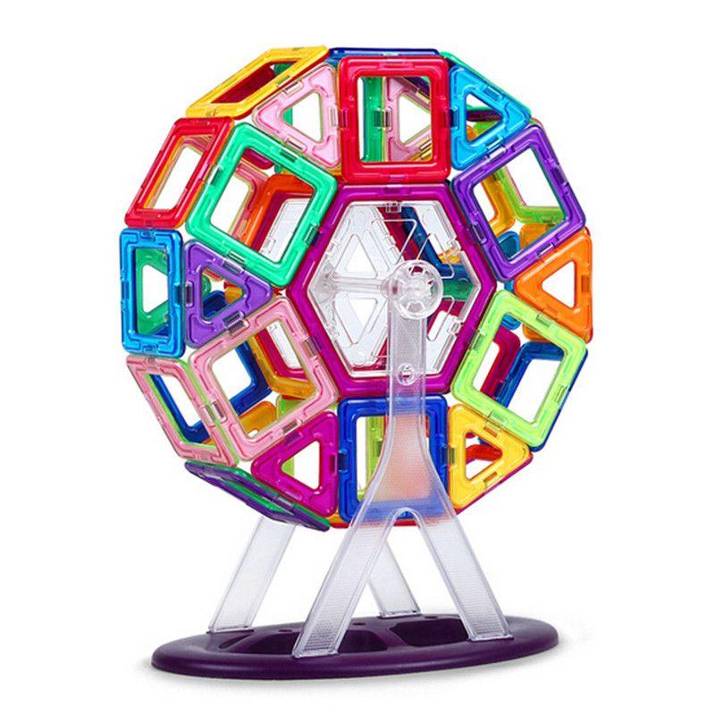 46 pcs Grande taille magnétique blocs de construction Grande roue Brique concepteur Éclairez Briques magnétique jouets Enfants de cadeau d'anniversaire