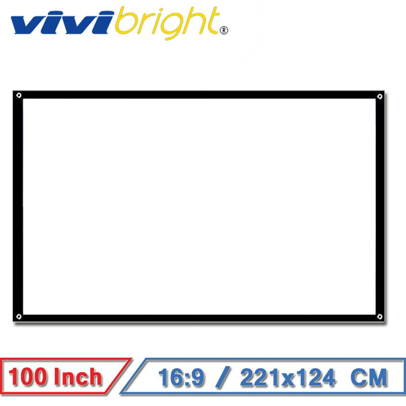 VIVIBRIGHT 100 inch 16:9 Portable Projector Screen, Matt White Screen for Home theater, Travel. Support LED Projector