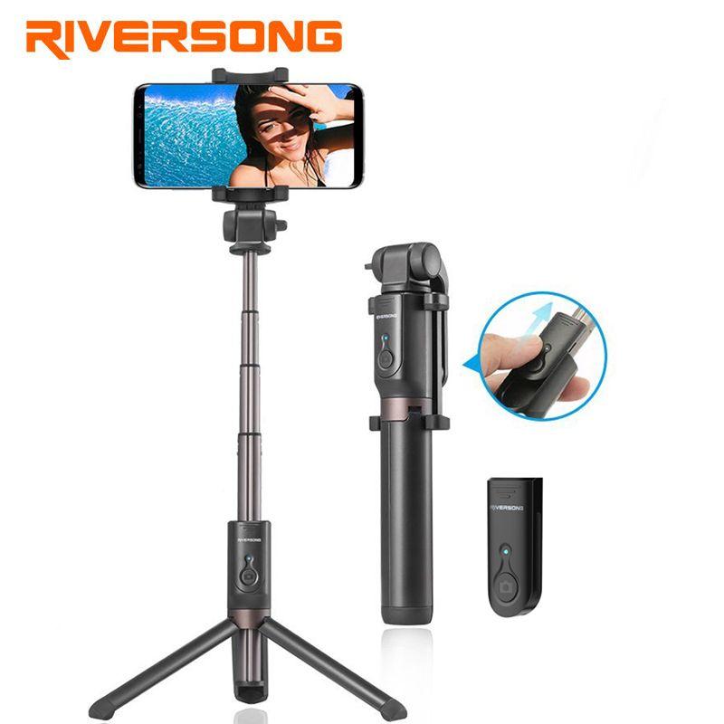 Riversong Handheld Mini Tripod Selfie Stick Bluetooth Extendable Phone Monopod for Samsung S8 S7 Xiaomi Bluetooth Remote Shutter