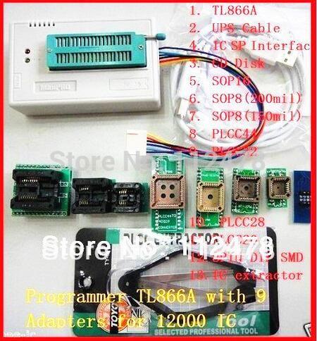 Free ship V7.21 original XGECU minipro TL866II Plus TL866A USB Universal BIOS nand flash 24 93 25 mcu Programmer+10 IC Adapters