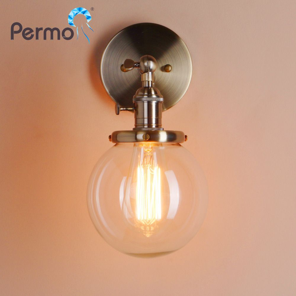 PERMO 5.9'' Modern Glass Metal Canopy Sconce Wall Lights Fixtures Retro Vintage Wall Lamp E27 Loft Home Decor Christmas Lights