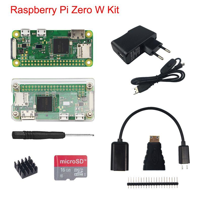 Raspberry Pi Zero W Kit + Acrylic Case + 5MP Camera + Micro OTG Cable + GPIO Header + Mini HDMI Adapter +16G SD Card + USB Cable