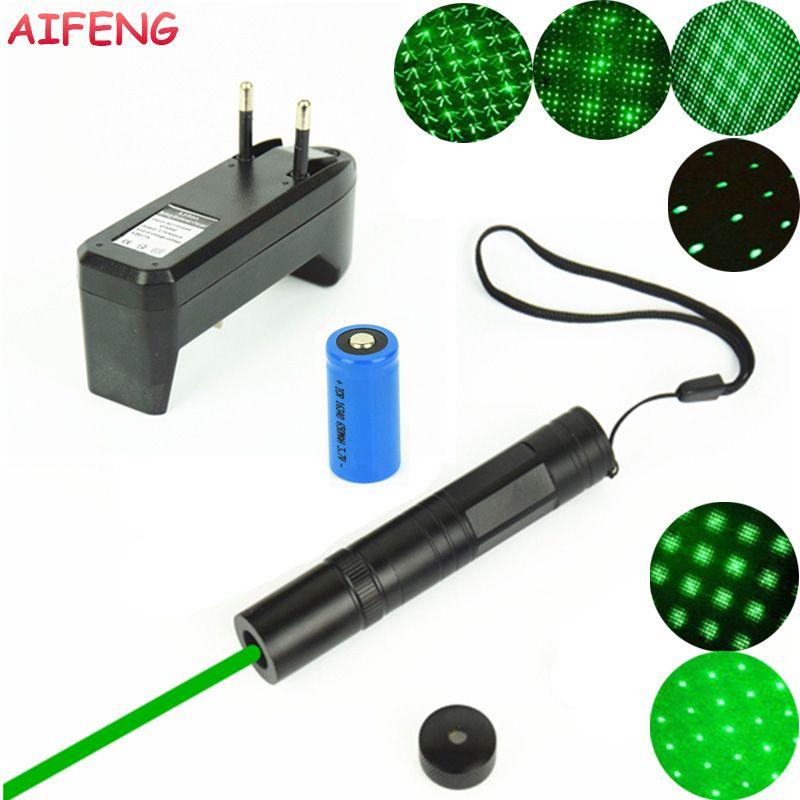 Aifeng 851 лазерная указка 532nm зеленый лазер + звезда голова + 16340 Батарея + ЕС Зарядное устройство Портативный свет для обучения обучение лазерна...