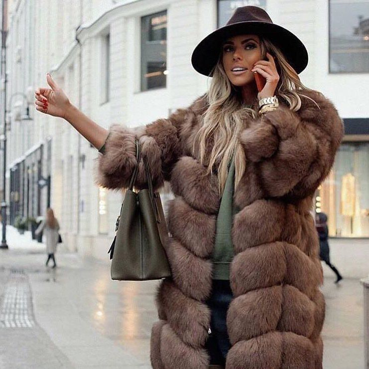 2018 winter new collection real fox fur vest with long sleeve 90 cm long natural fur coat for women outwear hamburg design