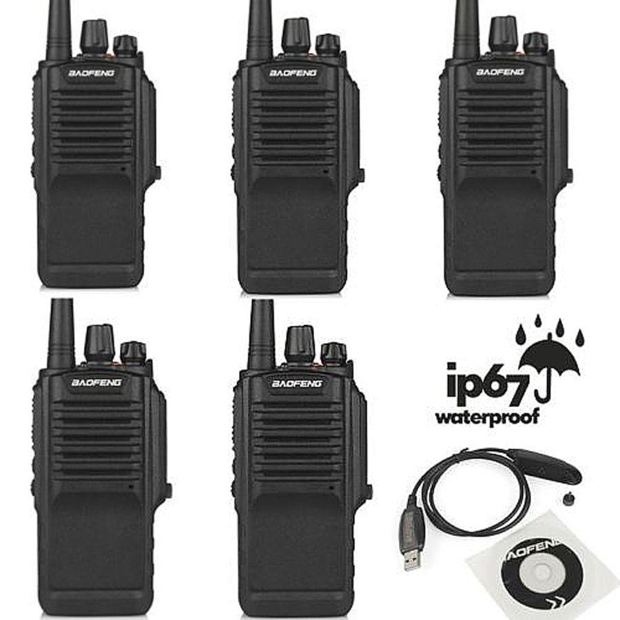 5pcs x Baofeng BF-9700 UHF 400-520MHz 5W IP67 Waterproof Potable Ham Two-way Radio Walkie Talkie with Programming Cable and CD