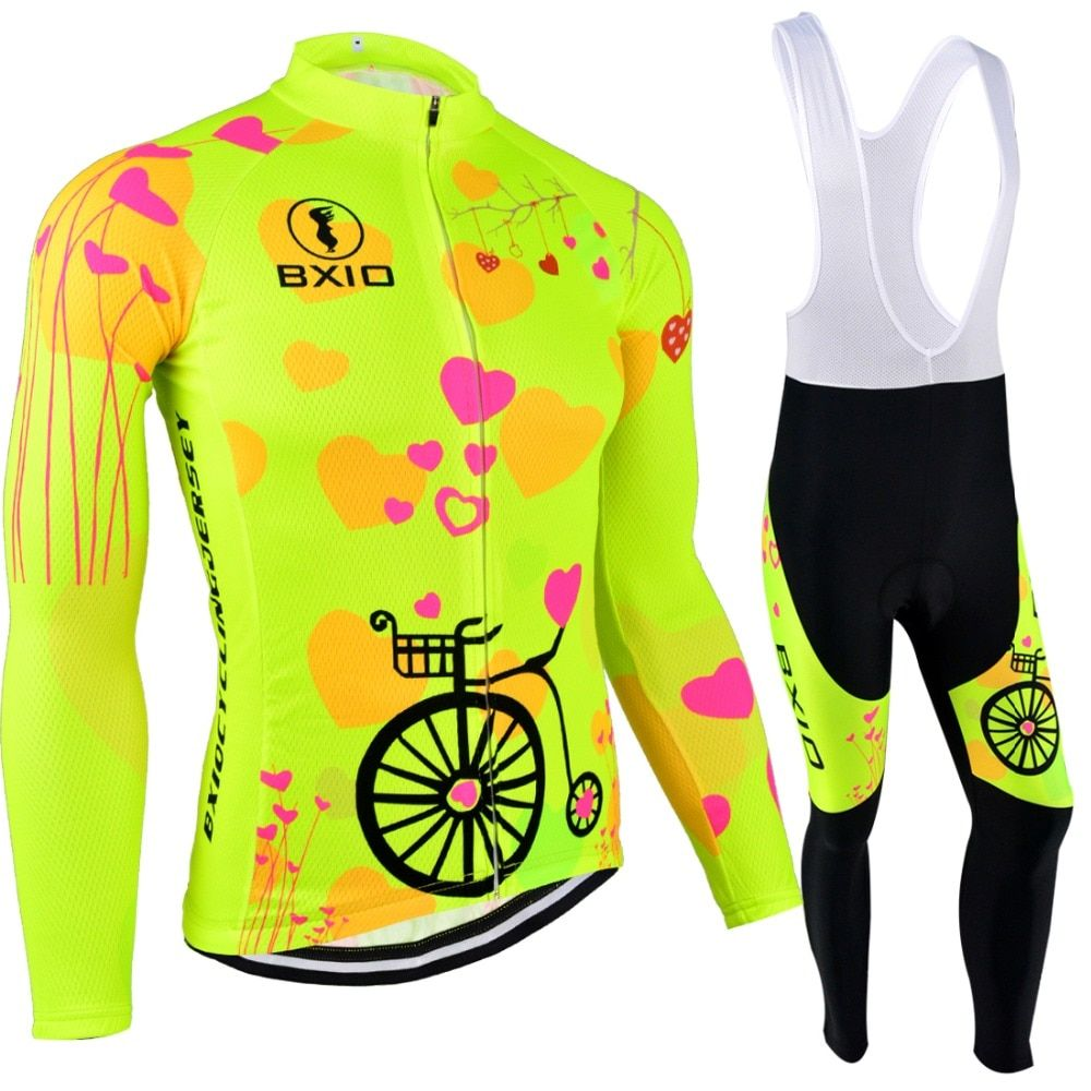 BXIO Mujer Ropa Ciclismo Invierno Pro Team Bike Clothes Fluo Yellow Bicycle Clothing Winter Thermal Fleece Cycling Jersey 125