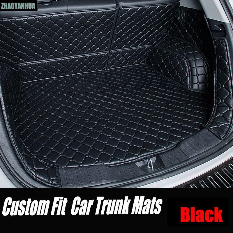 ZHAOYANHUA Car trunk mats Case for Hyundai ix25 ix35 Elantra SantaFe Sonata Tucson verna Veloster Waterproof leather carpet line