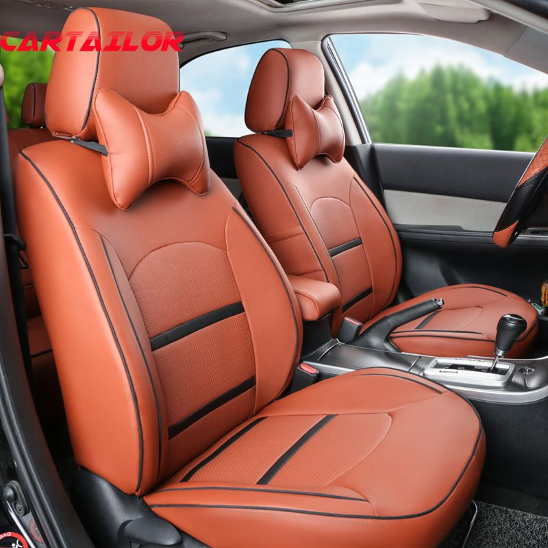 CARTAILOR Car Seat Covers Leather Fit for Jeep Wrangler 2014 2015 2013 2012 Car Seats Accessories Set Front &back Seat Protector