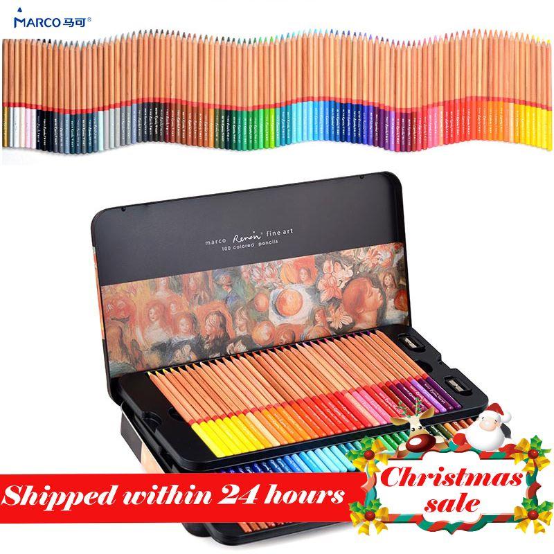 Marco 24/36/48/72/100 professional Oily Color Pencils lapices de colores for Coloured Drawing Pencil Set Art <font><b>Supplies</b></font>