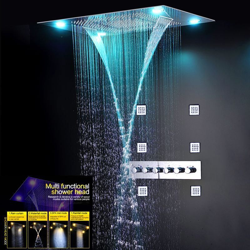 Luxury Thermostatic Shower Mixer Set Concealed Big Rainfall Bath Panel Waterfall Massage Mist Faucets 5 Way Showers Electric LED