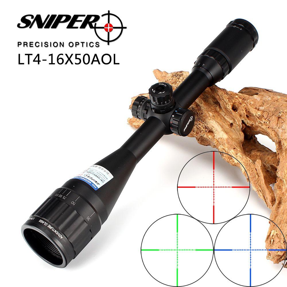 Lunette de chasse Sniper 4-16X50 AOL 1 pouce vue optique tactique pleine taille illuminer la portée de fusil de réarmement à verrouillage Mil-Dot