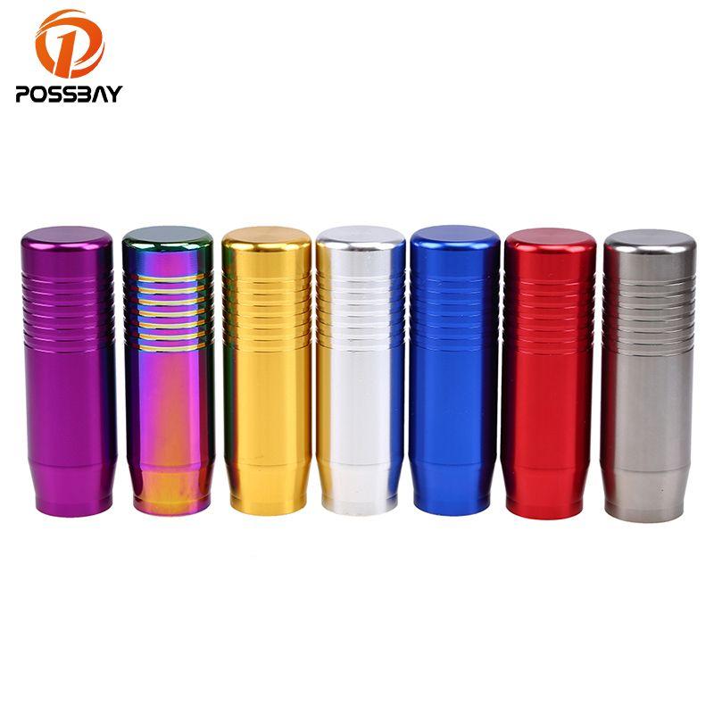 POSSBAY Aluminum Car Gear Shift Knob Red/Purple/Grey/Blue/Gold/Silver/Multicolor Shift Lever 8.5CM Gear Knob Accessories Decor