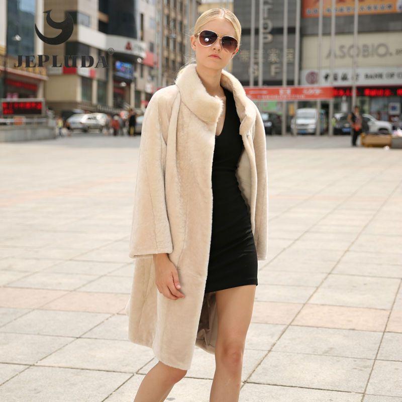 JEPLUDA New Winter Women Real Fur Coat Mink Fur Mandarin Collar Dark seams Patchwork Loose Type Thick Warm Sheep Shearing Coats