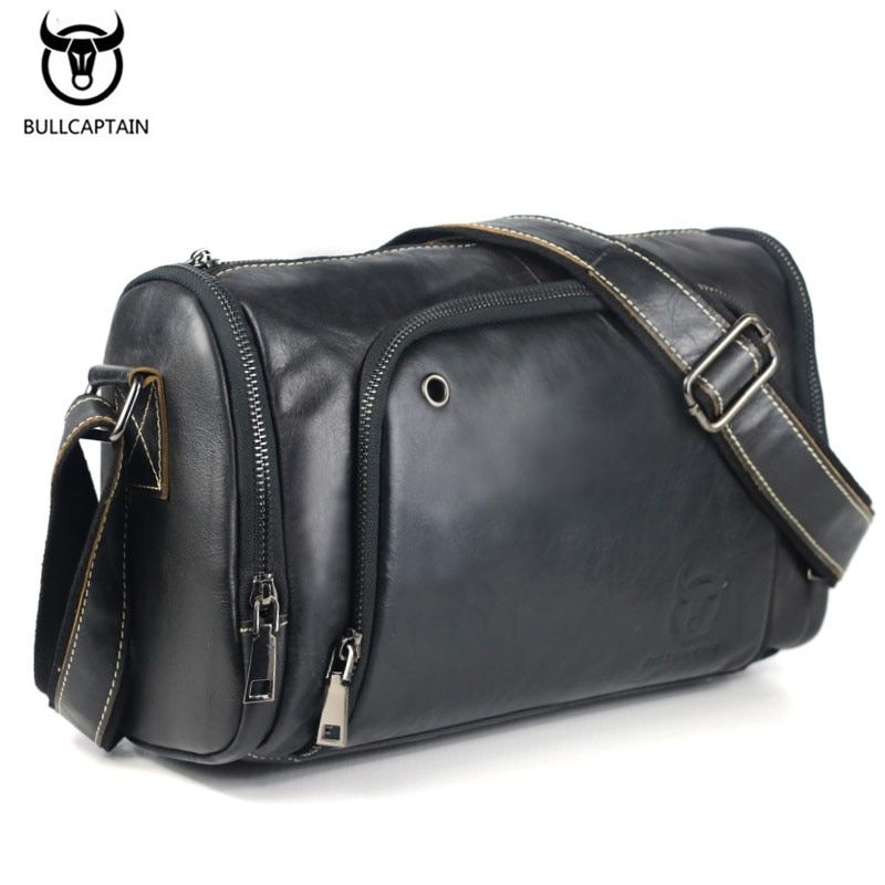 2017 Vintage Men's Genuine Leather Messenger Bag <font><b>Capacity</b></font> Crossbody Bags Casual Cowhide Shoulder Bags Retro Bags Man Briefcases