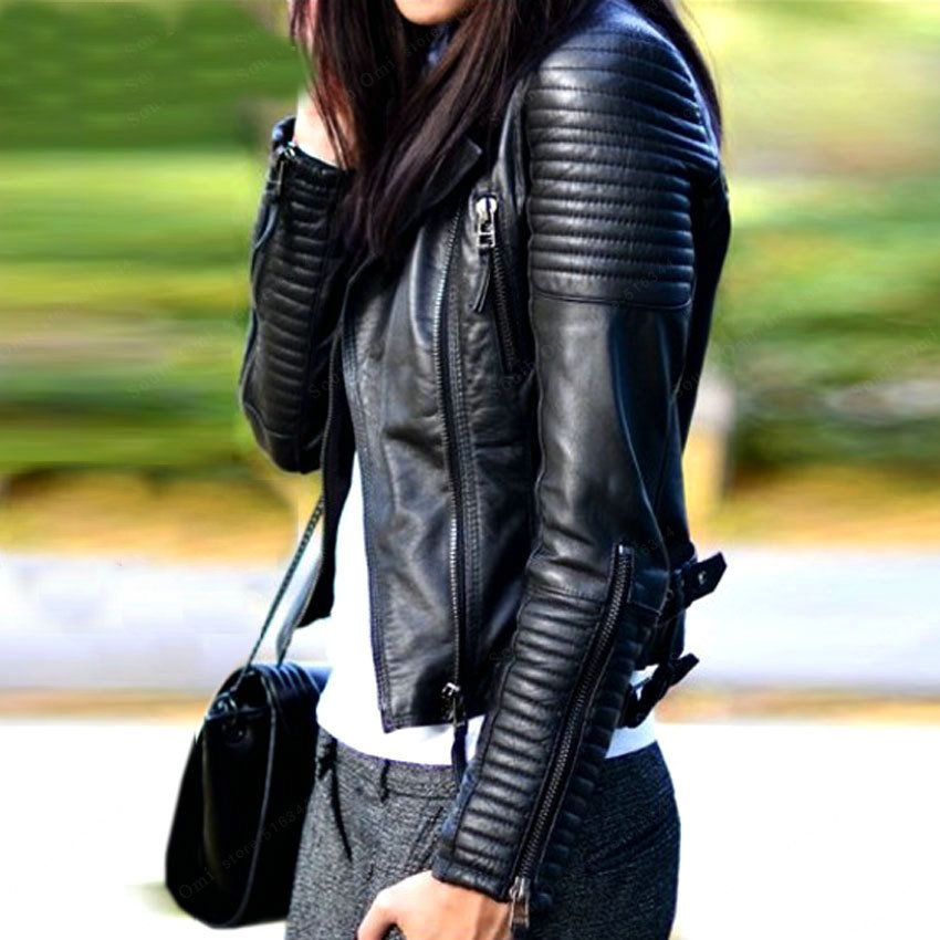 2018 New Fashion Autumn Winter Women Biker Faux Soft Leather Jackets Lady Pu Motorcycle Black Zipper Coat Streetwear Hot Sale