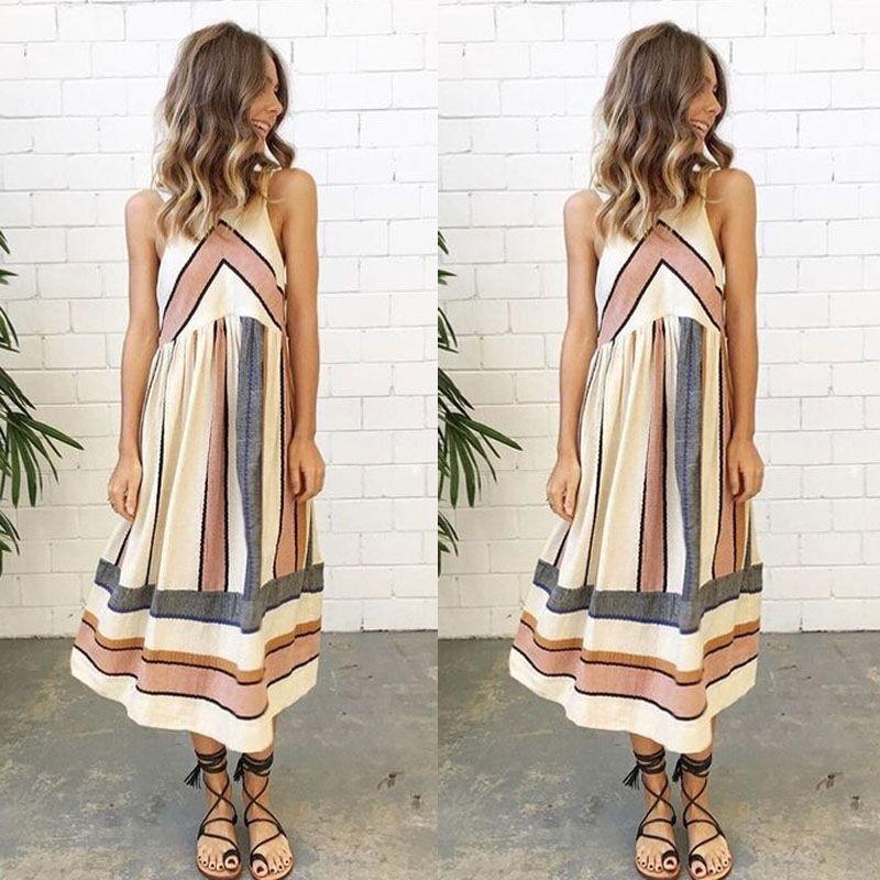 Summer New Fashion Dresses Boho Style Long Dress Women Off Shoulder Beach Floral Print Sleeveless Loose Large Stripe Dresses