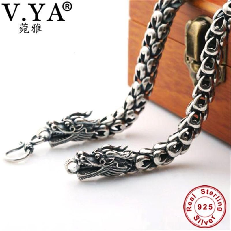 6-8MM Dragon Head Chain 100% Pure Silver Chain Necklace S925 Sterling Silver Necklace Thai Silver Necklaces Men Jewelry HYN14