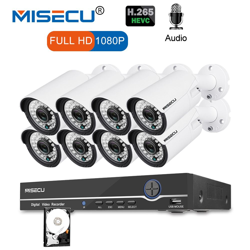 MISECU 8CH 1080 p CCTV Kamera System Audio Record 2MP Kugel PoE IP Kamera Wasserdichte Outdoor Nachtsicht Video Überwachung kit