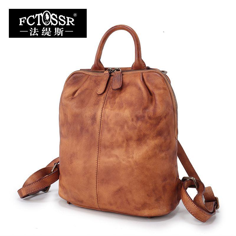 Новое поступление Пояса из натуральной кожи Для женщин рюкзак 2018 мягкая ручка дамы Винтаж ручной работы высокое качество рюкзак