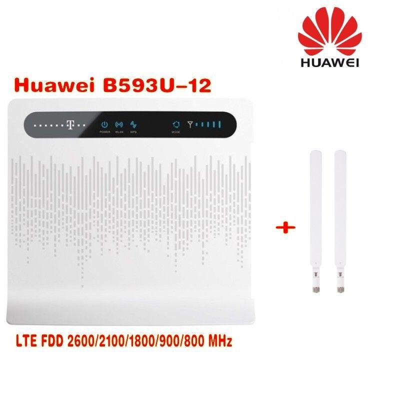 Entriegelte Huawei B593 B593u-12 4G LTE FDD 4G wireless router 100 Mbps WiFi Hotspot Sim-karten-slot + 2 stücke 4g B593 antenne