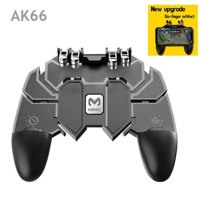 AK66 Six Finger All-in-One Mobile Game Controller Free Fire Key Button Joystick Gamepad L1 R1Trigger for PUBG Dropshipping