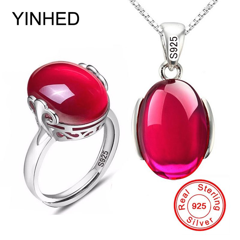 90% OFF! Luxury 5 Carat Created Rubis Ring Necklace Set Original 925 Solid Silver <font><b>Crystal</b></font> Bridal Jewelry Sets for Women ZS054