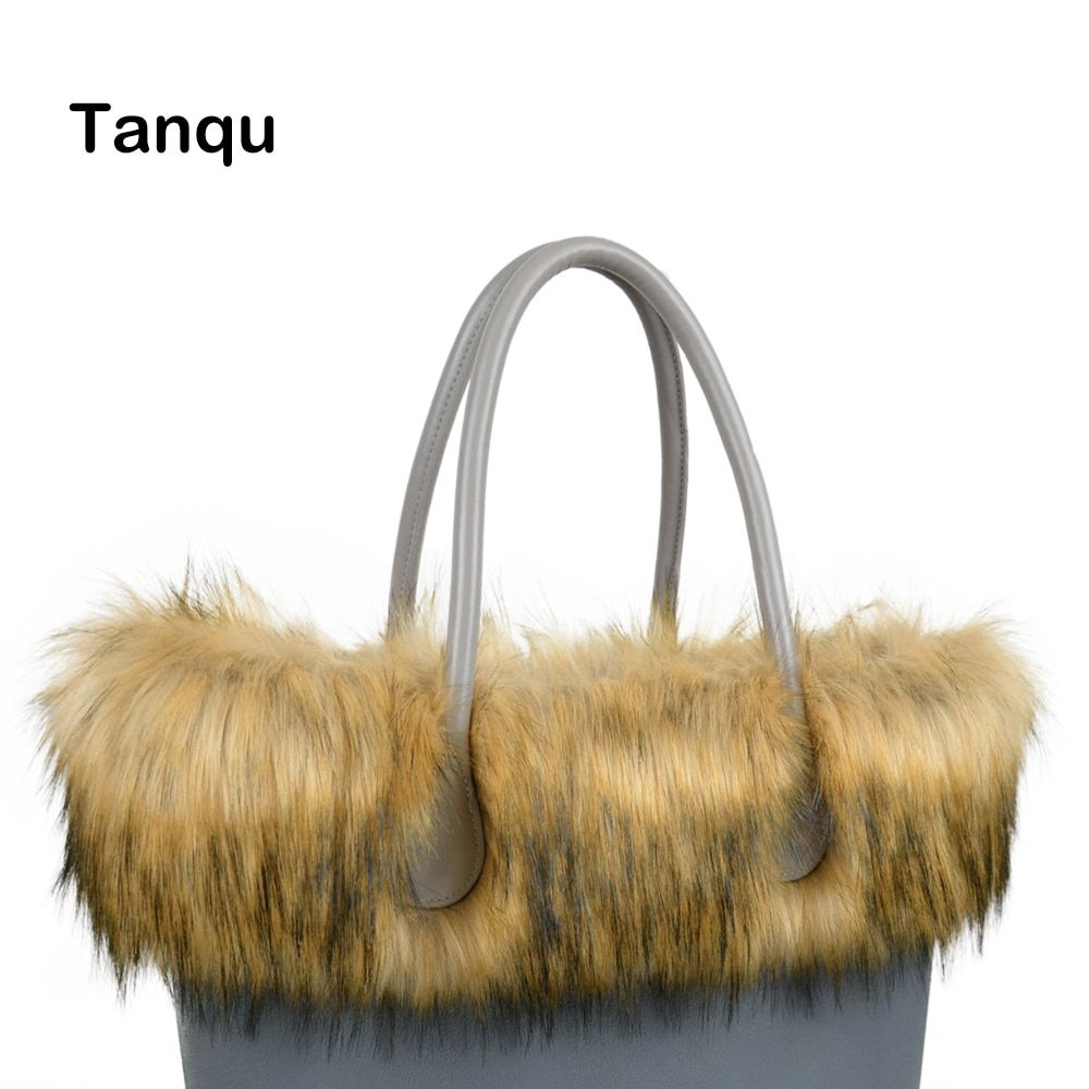 Tanqu New Women Bag Faux Raccoon's Fur Plush Trim for O BAG Thermal Plush Decoration Fit for Classic Big Mini Obag
