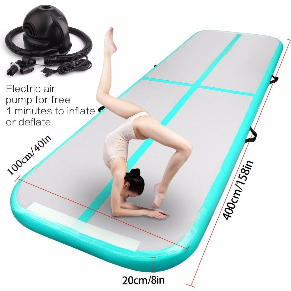 2018 New Airtrack 4*1*0.2m Inflatable Air Tumble Track Olympics Gym Mat Yugo Inflatable Air Gym Air Track Home use Free Shipping