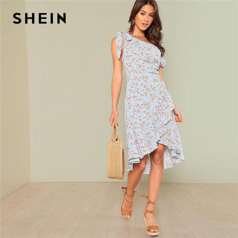 SHEIN Asymmetric Shoulder Ditsy Wrap Dress Women Ruffle Short Sleeve Knee Length Zipper Floral Dress 2018 Vacation Dress