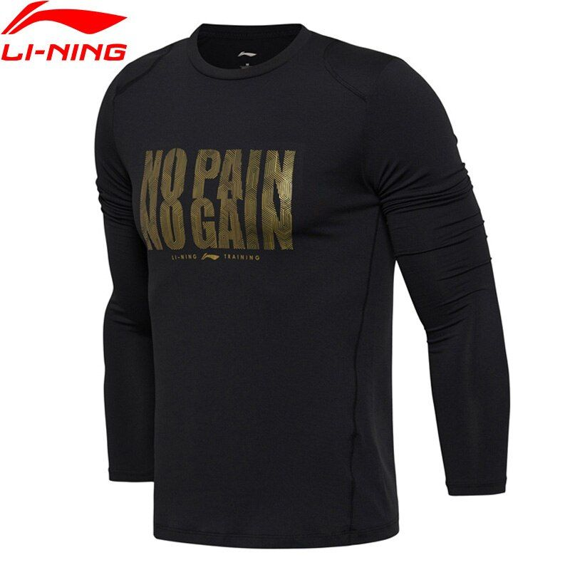 Li Ning Männer Hemd Trainings Serie T-Shirt Slim Fit 86% Polyester 14% Spandex Langarm Li Ning Sport T Tops ATLM079