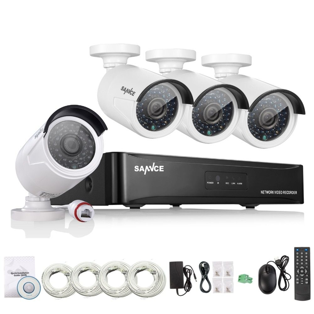 SANNCE 4CH NVR 960P IP Network PoE Video Record IR Outdoor CCTV Security Camera System Home video Surveillance kit