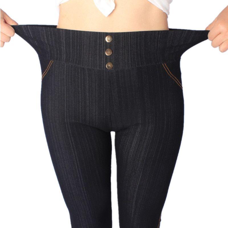 2018 femmes Leggings XL, 3XL, 5XL taille haute Jeans Leggins avec boutons jegging grande taille Legging couleur unie Leggings offres spéciales