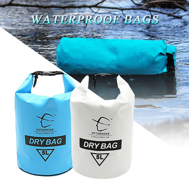Hitortrekking 5L sac à dérive sac étanche sac à dos sac à dos canoë Kayak Rafting sacs de rangement flottants pliant Kits de voyage nautique