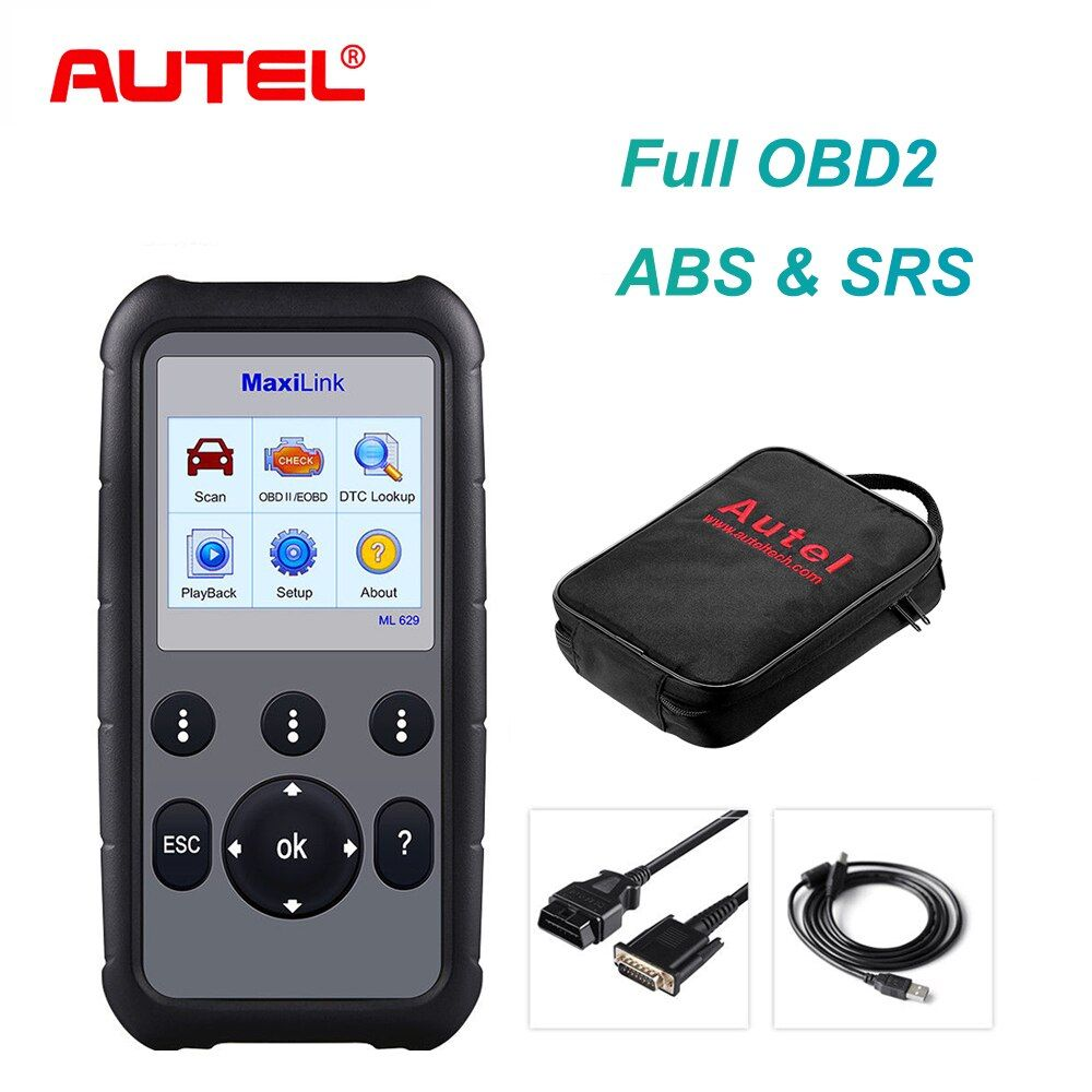 Autel MaxiLink ML629 CAN OBD2 Scanner Code Reader +ABS/SRS Diagnostic Scan Tool, Turns off Engine Light (MIL) and ABS/SRS