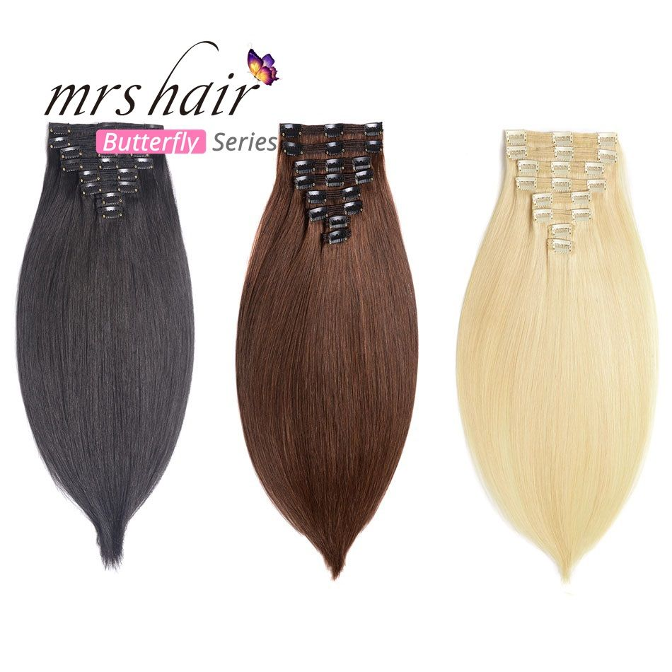 MRS HAIR Clip In Human Hair Extensions Straight 8pcs Set Machine Made Remy Brazilian Hair Clips Full Head 14