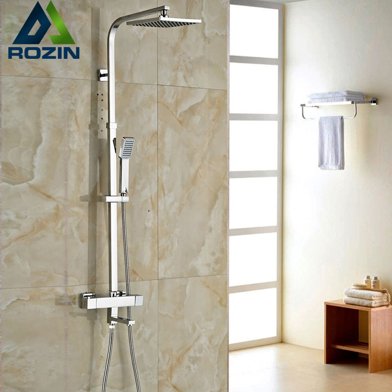 Brand New Chrome Thermostatic Water Shower Faucet Set Bath Tub Shower Mixers with Handshower 8