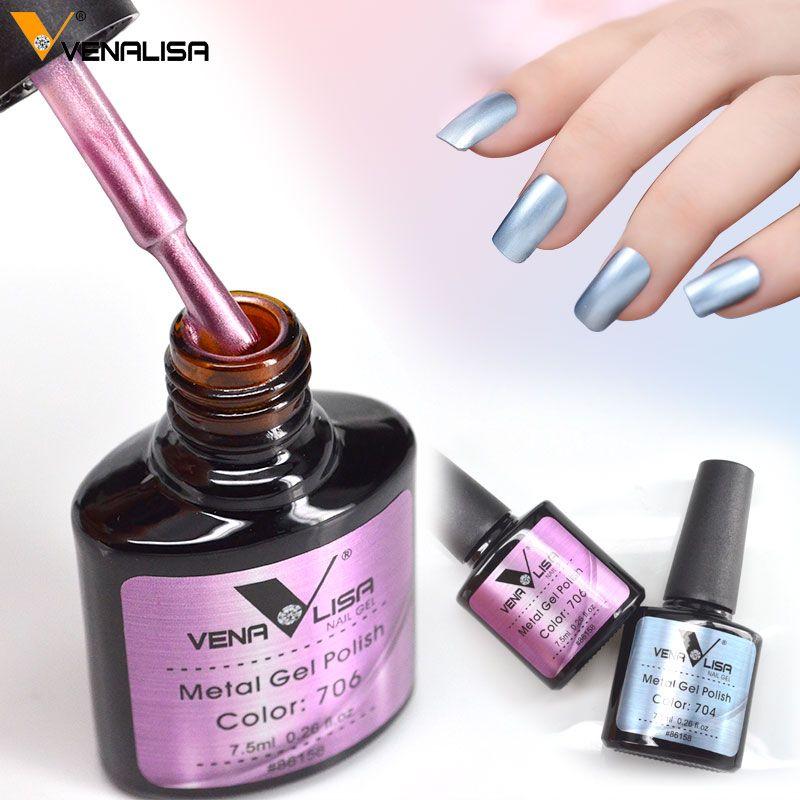 Neue mode Venalisa heißer verkauf 6 farben 7,5 ml nail art tränken off uv/led abendessen shinning magie spiegeleffekt metall gel nagellack