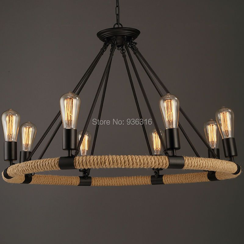 Vintage Rope Pendant Light Lamp Loft Creative Personality Industrial Lamp Edison Bulb American Style  Living Room