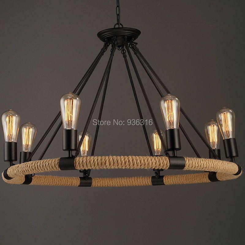 Vintage Rope Pendant Light Lamp Loft Creative Personality Industrial Lamp Edison Bulb American Style Living Room