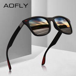 Мужские сверхлегкие солнцезащитные очки AOFLY, черно-красные сверхлегкие солнцезащитные очки для вождения с квадратными поляризованными лин...