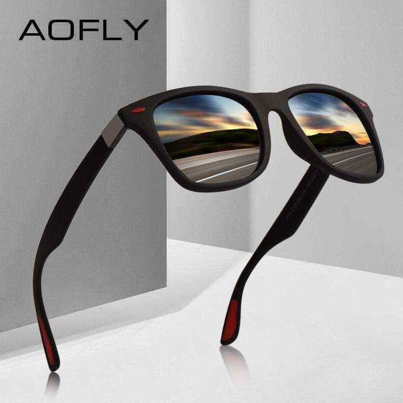 AOFLY MARQUE CONCEPTION Classique lunettes De Soleil Polarisées homme femme Conduite Cadre Carré lunettes De soleil Mâle Lunettes UV400 Gafas De Sol AF8083