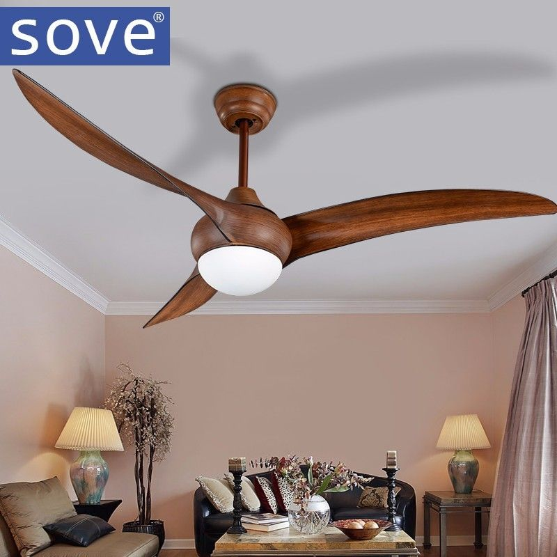 52 inch LED Brown DC 30w village ceiling fans with lights minimalist dining room living room ceiling fan with remote control