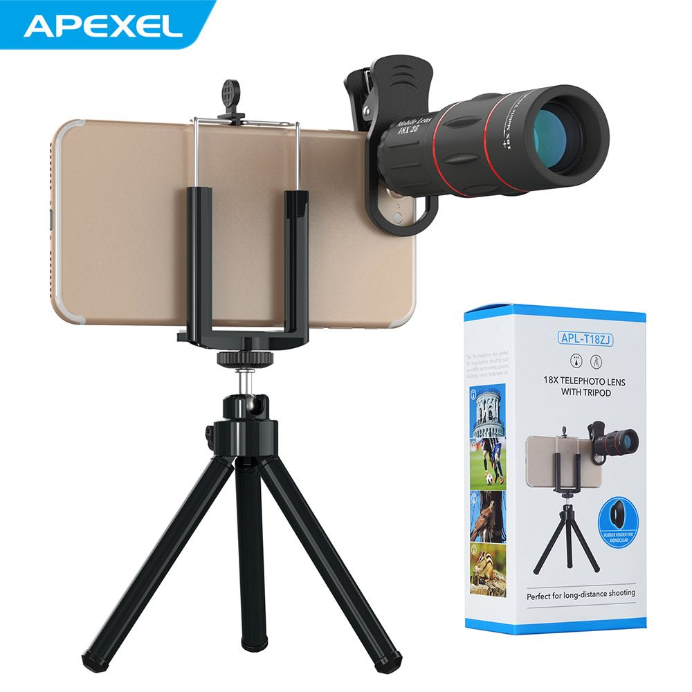 APEXEL 18X Telescope Optical Zoom Mobile Phone Lens for iPhone Samsung XIAOMI Smartphones clip Telefon Camera Lens