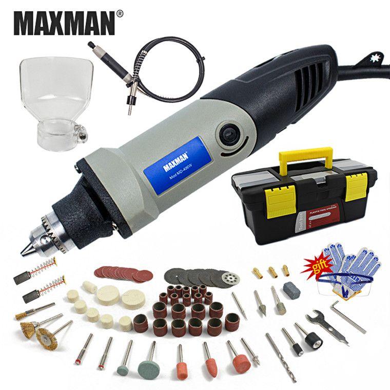 MAXMAN 220V/110V Electric Mini Die Grinder Dremel Tool 0.6~6.5mm Chuck Variable Speed Rotary Tool DIY Multi Power Tools